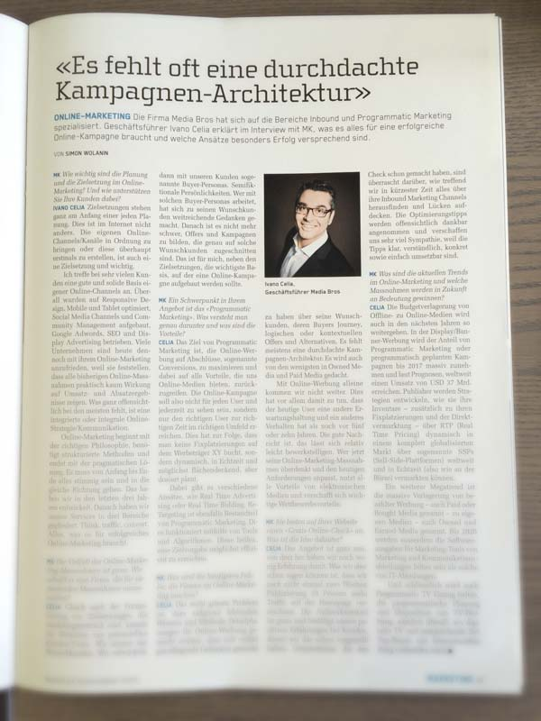 Interview mit Ivano Celia, Marketing & Kommunikation Ausgabe 10/14